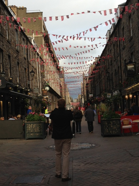 A delightful street in Edinburgh taken on a recent trip there. Note the bunting!