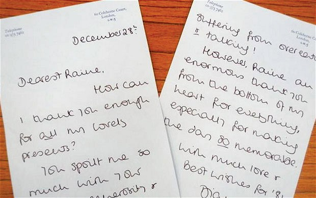 A letter from Diana to Rain Spencer (via The Telegraph)