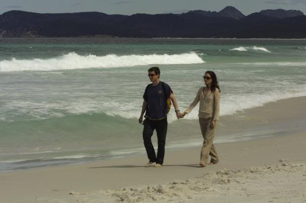 Mary & Frederick stroll on the beach in the documentary (via MaryFromTheStart.Blogspot)