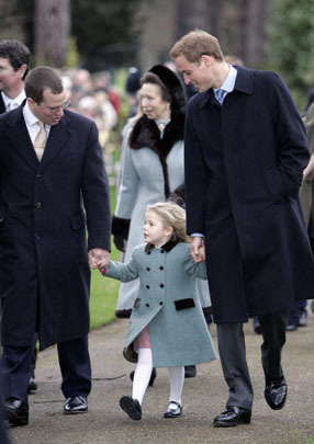Peter Philips and Prince William escort Margarita Armstrong-Jones to church on Christmas Day 2006 (via CBS News)