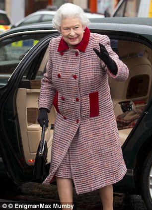 The Queen on December 20, 2012 arriving at King's Cross Station en route to Sandringham (via )