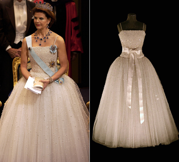 Queen Silvia in her fairytale gown in 2001 (via Hello!)