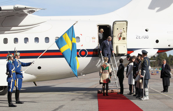 Charles and Camilla arrive in Sweden for a Jubilee tour in 2012 (via Zimbio)