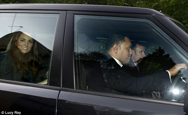 Kate being driven to  to St. Andrew's  (via Daily Mail)
