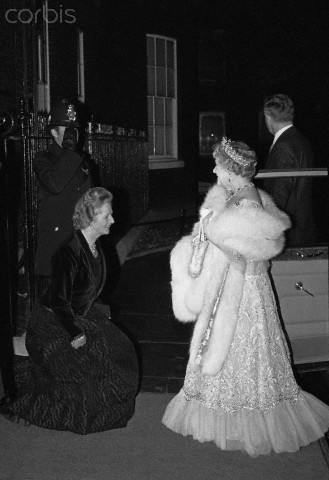 11 Nov 1980, London, England, UK --- Original caption: 11/11/1980-London, England- Britain's Quen Mother is greeted by the Prime Minister, Margaret Thatcher, upon her arrival at 10 Downing Street. The Prime Minister hosted an 80th birthday party for the Queen Mother. --- Image by © Bettmann/CORBIS
