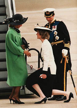April 22,  1986, London, England, UK --- Princess Diana and Prince Charles greet Queen Sofia and King Juan Carlos of Spain upon their arrival at Heathrow Airport. --- Image by © Reuters/CORBIS