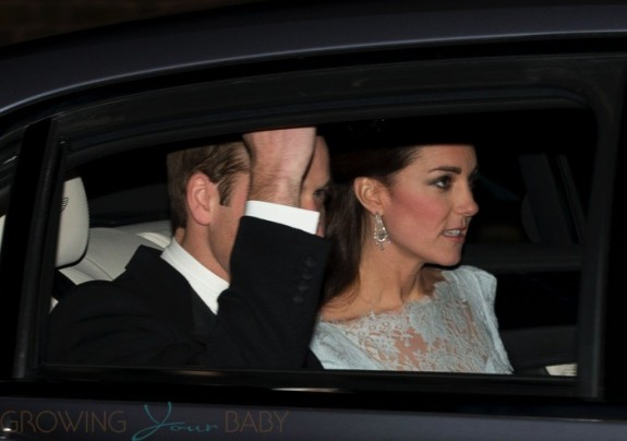 William & Kate seen either leaving or arriving a diplomatic reception at Buckingham Palace (source)