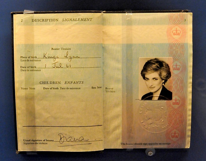 Princess Diana's British passport on exhibit---as we visited the Princess Diana exhibit at the Mall of America fourth floor exhibit space with a group of English-born women that call themselves the English Mums Friday morning February 3, 2012. The exhibit was lent by Princess Diana's family and it features what is considered to be the largest collection of her personal heirlooms extant. The exhibit opens Saturday. (Pioneer Press: John Doman)