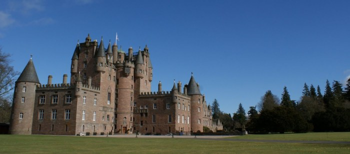 Glamis Castle during a warmer time of year (source)