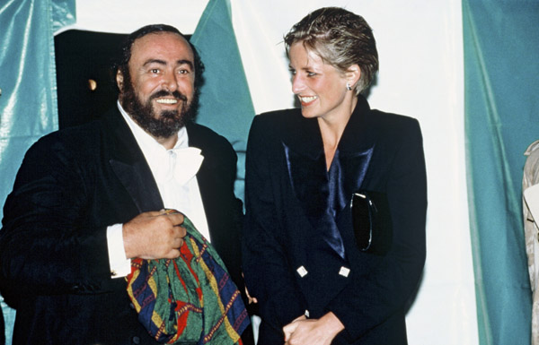 Princess Diana,and Luciano Pavarotti at Hyde Park concert July 30, 1991 in London. (source)