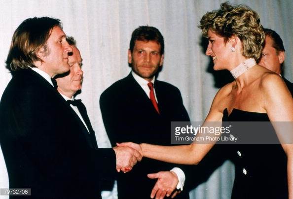 Princess Diana had met Gerard Depardieu the previous year in October 1992 at the Royal Premier of '1492' at the Odeon in Leicester Square, London (Getty Images)